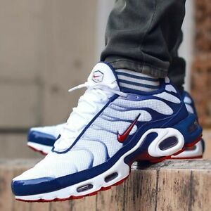 buy online e3f40 2151f Details about Nike Air Max Plus Americana Sneakers Men's Lifestyle Comfy  Shoes White/Blue/Red