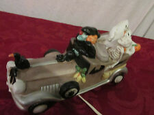 Enesco Halloween Witch Driving Car with Ghosts, Skeleton & Black Cat Lamp 1989
