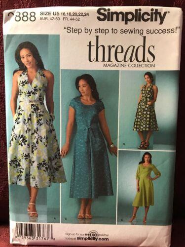 Simplicity Pattern Dress 16-18-20-22-24 threads Sz U5 #2888