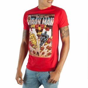 Iron-Man-Marvel-Comics-Men-s-Red-Retro-Vintage-Cotton-T-Shirt