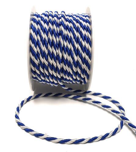 1m=0,40€ weiß Drehkordel KORDELBAND Dekoband SCHNUR KORDEL 15m x 4mm blau