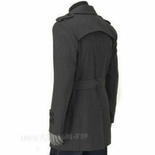 Men/'s Wool Blend Jacket Trench Coat Business Double Breasted Overcoat Slim Fit