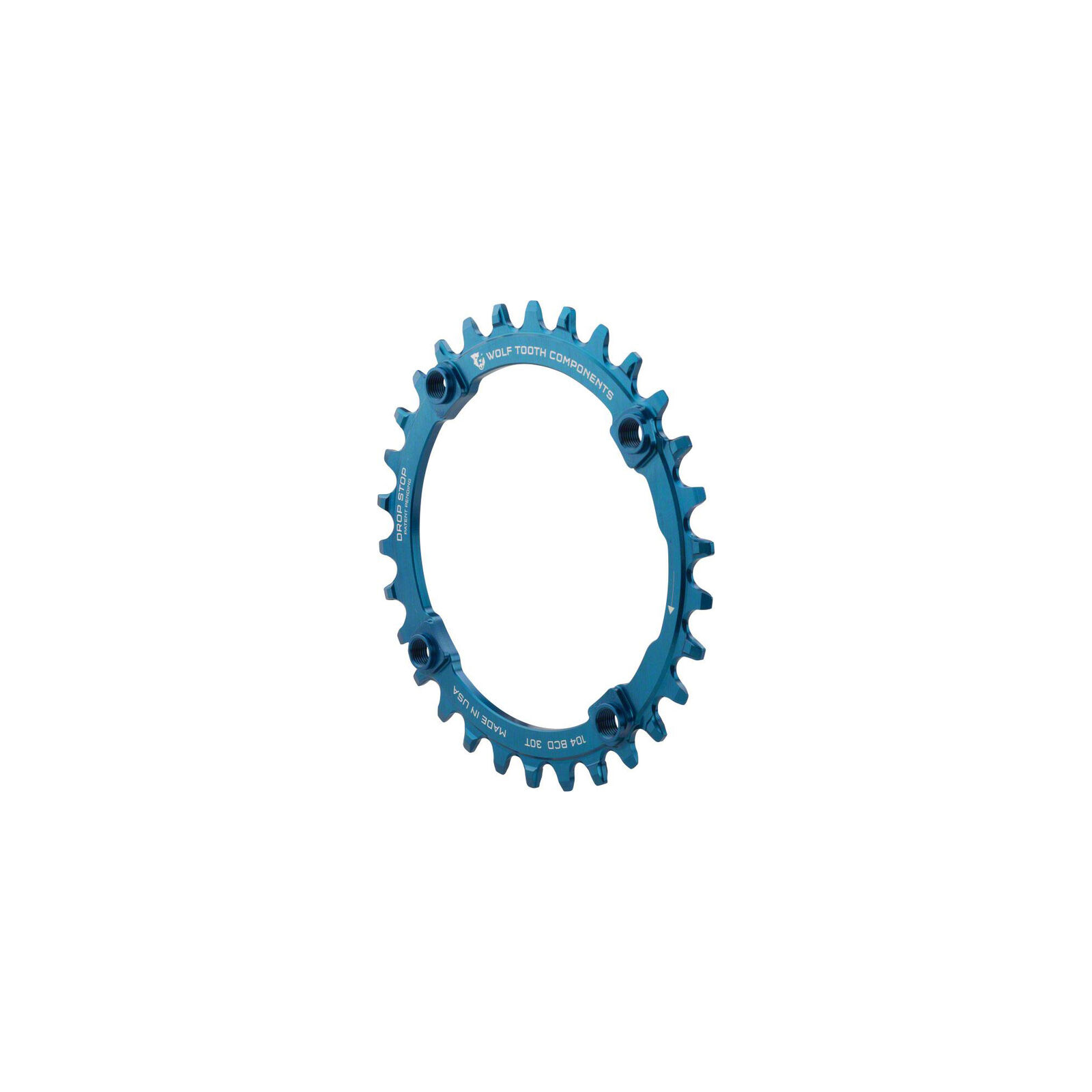 Wolf Tooth Components Drop-Stop 34T Chainring  4 x 104 BCD, Blau