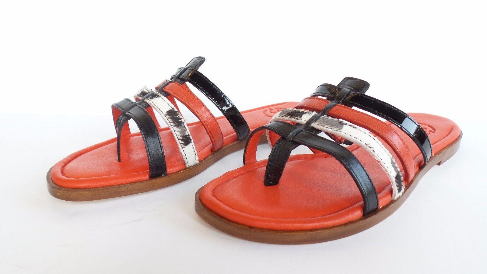 Johnston & Murphy Femme TIA Noir en Cuir Rouge Slides Sandales Neuve avec boîte taille 6