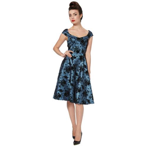 Elegant Blue Floral Flock Print 50s Rockabilly Retro Vintage Flared Dress