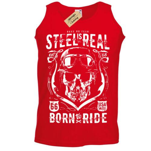 Steel is Real Tank Top Biker Vest 66 No Fear born to ride rider motor mens