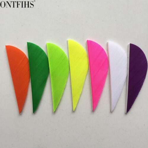 "50pcs 2/"" Parabolic Archery Arrow Feather Fletches Natural Turkey Fletching"