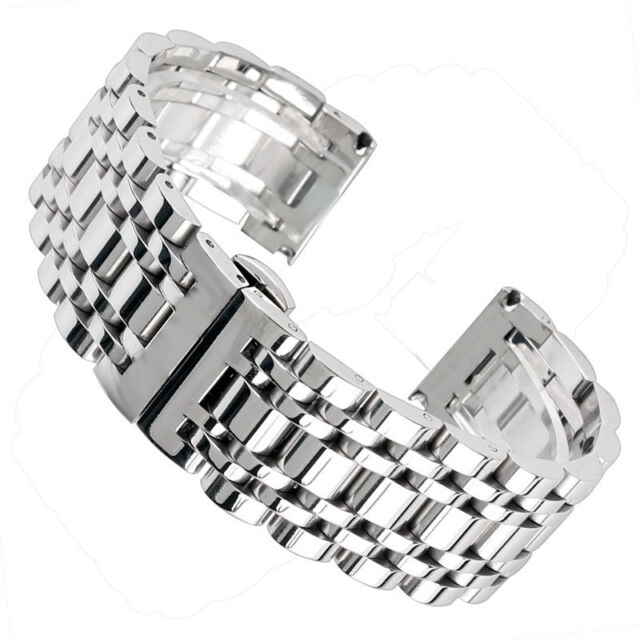 20/22/24mm Silver Stainless Steel Mens Watch Band Wrist Strap Sport Hidden Clasp