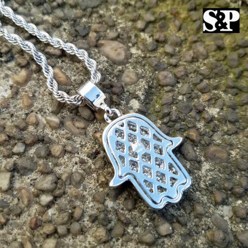 "New Unisex Gold /& Silver Tone Hamsa Pendant w// 4mm 24/"" Rope Chain Necklace"