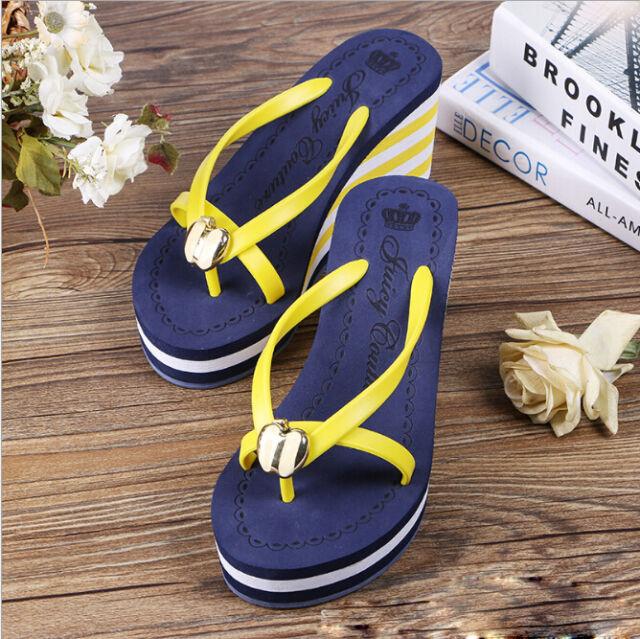 2018 Women High Heels Beach Sandals Wedges Platform Flip Flops Straw Braid Shoes