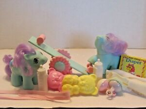 MY LITTLE PONY G1 VINTAGE NEWBORN TWINS BABY  PEEKS AND PUDDLES ALL ACCESSORIES