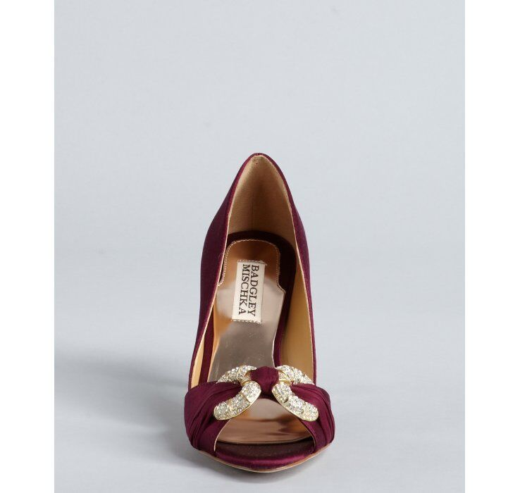 NIB Badgley Mischka JAMAICA jeweled wedding bridal open toe Wine pumps schuhe Wine toe 6 M a52166