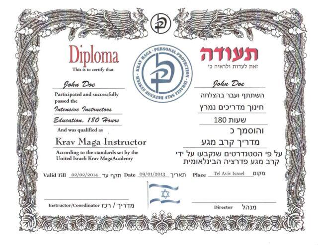 Krav Maga Certificate 11 X 14 Ebay