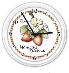 Strawberry-Kitchen-Personalized-Wall-Clock-Country-Garden-GREAT-GIFT
