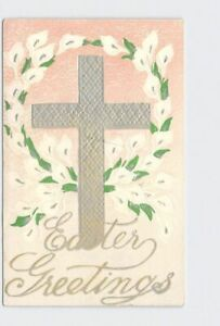 ANTIQUE-POSTCARD-EASTER-RELIGIOUS-CROSS-LILIES-PINK-SILVER-EMBOSSED