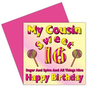 Image Is Loading My Cousin Sweet 16 Happy Birthday Card 16th
