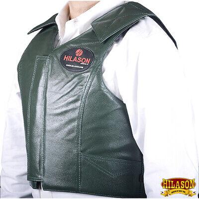 Hilason Leather Bareback Pro Rodeo Bull Riding Vest Black U-V101
