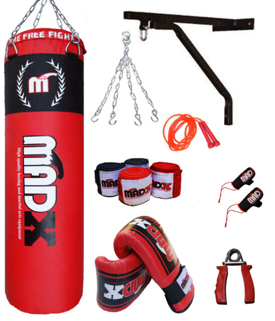 MADX 10Pc 5ft Boxing Filled Heavy Punch Bag Pro Set,Wall Bracket,Gloves, MMA