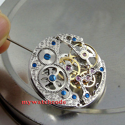 17 Jewels silver Full Skeleton 6497 Hand Winding movement M5