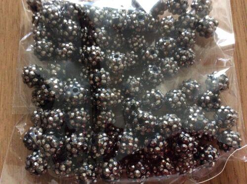 Resina estilo discoteca pelota perlas Shamballa X 100 12mm Negro Y Plateado