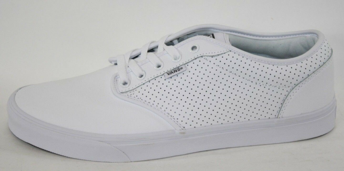NEW Mens VANS Atwood Perforated Leather White Casual Sneakers shoes