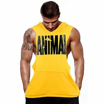 Hot Men Gym Clothing Bodybuilding Stringer Hoodie Tank Top Muscle hooded Shirt