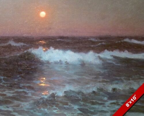 SURREAL OCEAN WAVES AT DUSK /& RED MOONLIGHT PAINTING SEA ART REAL CANVAS PRINT