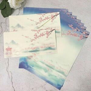 Chinois-Lettre-Papier-8X-Ecriture-8X-Enveloppe-Ensemble-Papeterie-Plum-Blossom