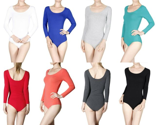 Stretch Basic Bodysuit Leotard Top Sexy Scoop Neck Solid Plain 3/4 Sleeve Cotton