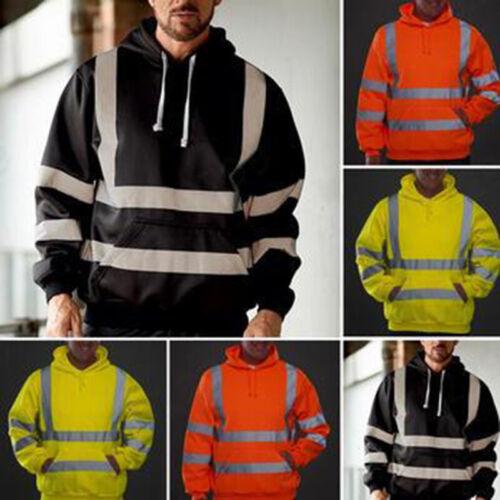 Men Hoodie High Visibility Jacket Hoodie Safety Work Hooded Sweatshirt Tops Coat