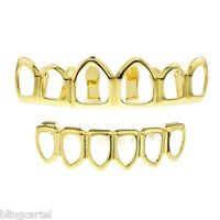 14k Gold Plated Open Face Grillz Six Tooth Top & Bottom Teeth Hip Hop Grills Set