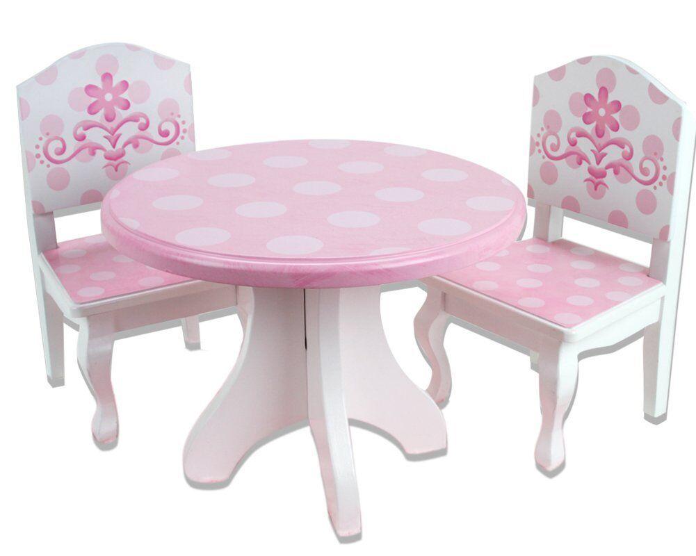rosado & blanco Pintado a Mano de Madera Juego De Comedor Para 18 Pulgadas Muñecas American Girl