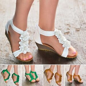 Womens-Ladies-Low-Heel-Wedge-Sandals-Flower-Flat-Summer-Shoes-Strappy-size-3-8