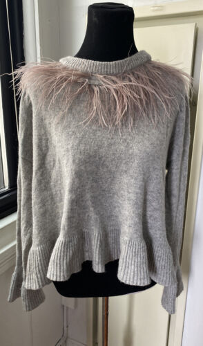 Cinq A Sept Ostrich Feather Ruffle Cropped Sweater