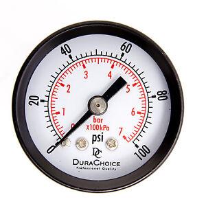 """1-1/2"""" Dry Utility Pressure Gauge - Blk.Steel 1/8"""" NPT Center Back 100PSI"""