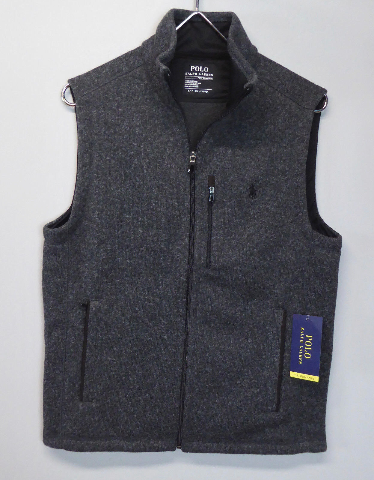 Polo Ralph Lauren Performance Full Zip Fleece Lined Vest NWT 125 Sweater grau