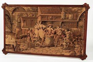 Alter wunderschöner Gobelin Wandteppich mit Holzrahmen/ Motiv: Weinszene Selten