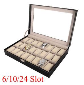 12-20-24-Slot-Leather-Watch-Box-Display-Case-Organizer-Top-Glass-Jewelry-Storage
