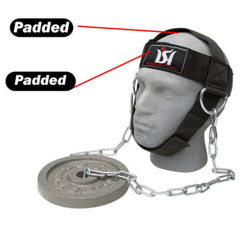 Weight lifting head neck harness gym workout exercise training straps belt new