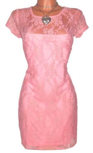 MELROSE Damen Kleid GR K59 40 44 Spitze Jersey 2in1  lachs NEU