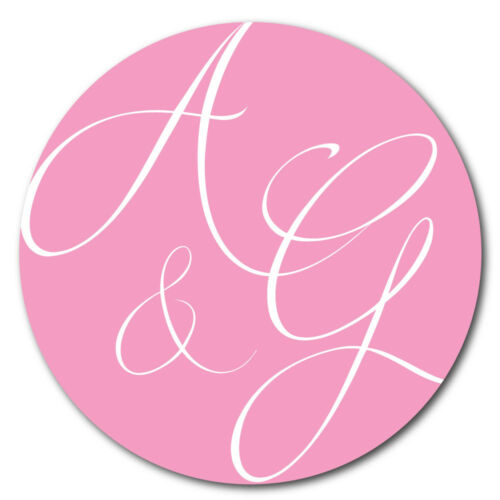 Personalised wedding engagement stickers 30mm diameter /'Abstract Initials/'