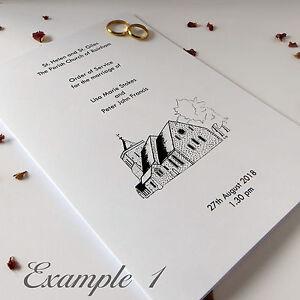 Wedding Order Of Service.Details About Personalised Wedding Order Of Service Simple Affordable Covers Sheet Booklet
