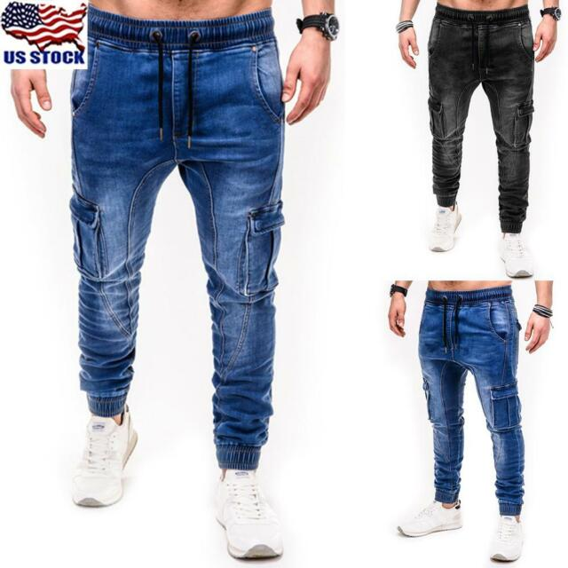 Classic Men/'s Slim Fit Straight Biker Jeans Trousers Casual Fashion Pants New