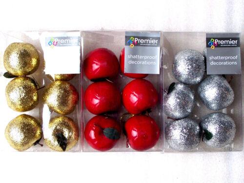 Premier 6 Shatterproof Glitter Apples Christmas Tree Decorations Baubles Red Gol