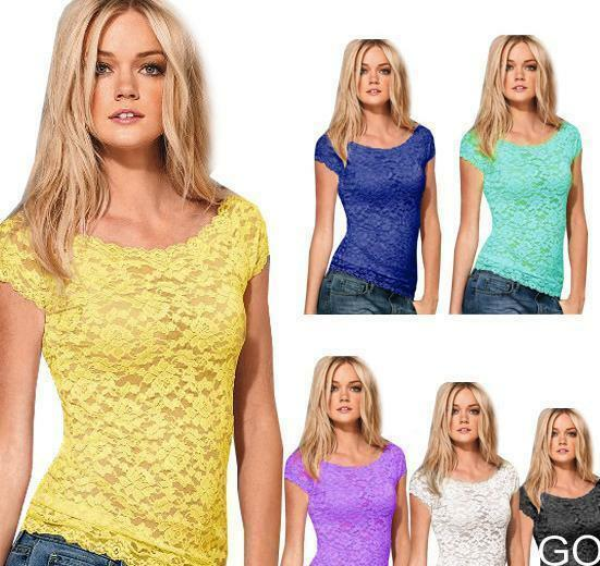 GO US New Women Floral Lace Sexy Top Short Sleeve Blouse Crew Neck T-shirt M/L