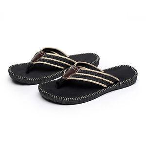 Black-Men-Flat-Flip-Flops-Casual-Slippers-Summer-Beach-Sandals-Shoes-Size-10-12