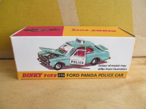 FREE POST BOX ONLY REPRODUCTION DINKY  FORD PANDA POLICE CAR No 270 BOX