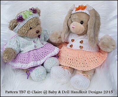"""Babydoll Handknit Diseños Tejer patrón 16/"""" o construir un oso de peluche animal"""
