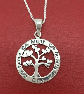 Sterling-Silver-Many-Hearts-One-Family-Necklace-Solid-925-Tree-of-Life-4-mothers