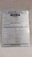 Plaque SICMA, instruction et entretien brûleur à mazout ancien. 05A254